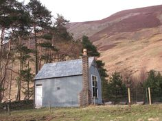 Galvanized steel cabin in Glen Almond, Perthshire,...