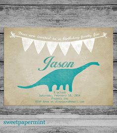 Dinosaur Birthday Invitation Card - Flags Vintage Child's Boy Girl - Printable Digital - Personalized by SweetPapermint on Etsy https://www.etsy.com/listing/150574784/dinosaur-birthday-invitation-card-flags