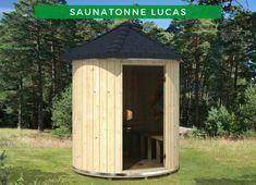 Sauna Ideen: Lust auf eine Sauna, aber der Garten ist zu klein? Dann ist unsere Saunatonne Lucas die perfekte Lösung für Sie! Mit einem Durchmesser von 200 cm passt diese Sauna fast überall hin und ist dabei noch ein richtiger Hingucker im Garten! Entscheiden Sie sich jetzt für dieses Modell! #Saunahaus #Saunieren #Saunagang Diy Sauna, Sauna Design, Shed Design, Design Design, Outdoor Projects, Home Projects, Sauna Steam Room, Outdoor Sauna, Tiny House Cabin