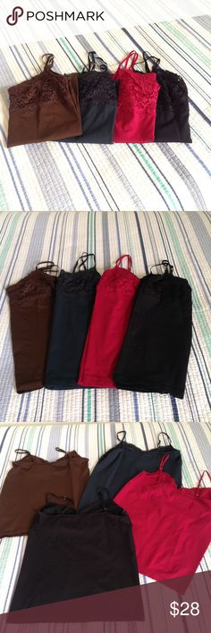 """Four Banana Republic camisoles, size XL Group of four gorgeous Banana Republic camis, all size XL. Brown, dark teal, red and black. All used, in excellent condition.  Great for layering.  Flat measurements:  15"""" pit to pit; 19"""" long.  In my opinion, they fit like a large, not XL.  The teal and brown are missing tags. I cut them out because they were scratchy. Not sure why I left the tags on the red and black, but glad I did!! 😁 Banana Republic Tops Camisoles"""