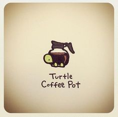 Turtle coffee pot What are these? Where are they coming from? Cute Turtle Drawings, Cute Animal Drawings, Kawaii Drawings, Cute Drawings, Tiny Turtle, Turtle Love, Cute Turtles, Baby Turtles, Sheldon The Tiny Dinosaur