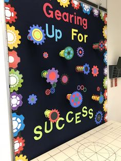 """bulletin board """"Gearing up for Success"""" using toilet paper rolls and slinkies Robot Bulletin Boards, Camping Bulletin Boards, Welcome Bulletin Boards, Elementary Bulletin Boards, Library Bulletin Boards, Back To School Bulletin Boards, Bulletin Board Display, Elementary Schools, Stem Classes"""