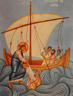 Homily on Christ Walking Upon the Water, by Metropolitan Avgoustinos Kantiotes Religious Pictures, Jesus Pictures, Religious Icons, Religious Art, Christian Images, Christian Art, Jesus Walk On Water, Jesus Calms The Storm, Biblical Art
