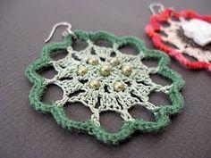 JeweledElegance: New Crochet Pattern: Fire Flower Lace Earrings