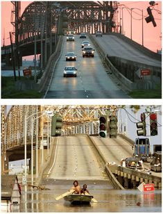 NEW ORLEANS BRIDGE | New Orleans Then and Now: In Katrina's Wake. ~Photos of New Orleans Bridge just after Hurricane Katrina and today