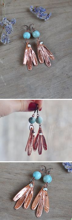 Electroformed earrings with real ash-tree seeds от ChechelArt