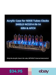 Other Crafts Acrylic Case For Nixie Tubes Clocks Shield & Garden Arduino Shield, Nixie Tube, Vacuum Tube, Study Office, Framing Materials, Retail Packaging, Retro Vintage, Conditioner, Clock