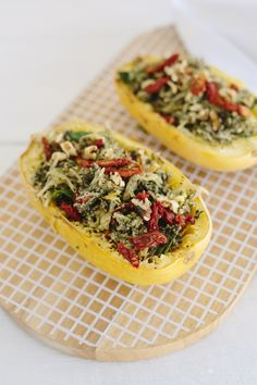 Roasted spaghetti squash makes the best pasta alternative! Try it with our super green kale and broccoli pesto - packed with extra greens to give your body a nice big boost of nutrients!