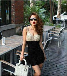 8d5932bc6e9 Fatal Temptation Plunging Neckline Sequins Embellished Cresase Edge Mini  Dress For Women loveeeeeee Sammy dress best website ever for shopping  fashion for ...
