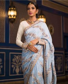 This powder blue saree with intricate vintage embroidery is the epitome of elegance! Perfect for your first day as a bride Indian Wedding Outfits, Indian Outfits, Indian Clothes, Indian Sarees, Silk Sarees, Vasansi Jaipur, Sangeet Outfit, Wedding Saree Blouse, Wedding Dress