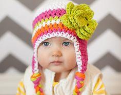 bebé niñas sombrero, poco chicas sombrero, sombrero del bebé, sombrero del bebé del ganchillo, sombrero de los niños, crochet sombrero de los cabritos