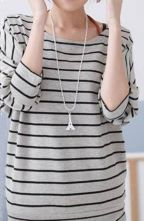 Grey+Black+Striped+Batwing+Sleeve+Round+Neck+Half+Sleeve+T-shirt+$24.48