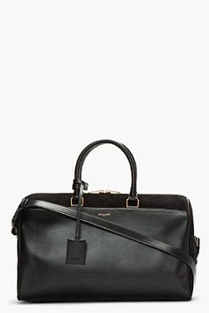 Saint Laurent Black Suede And Leather Duffle for women | SSENSE