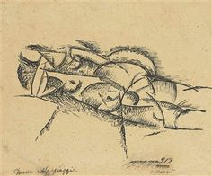 Carlo Carrà  Donna sulla spiaggia, 1913  pen and black and India inks on paper laid down on board  6 3/8 x 7 ¾ in. (16.1 x 19.6 cm.)  Signed