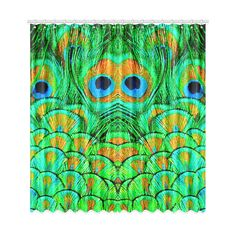 """Peacock Feathers Nature Art Window Curtain 50""""x108""""(Two…"""