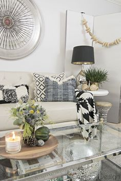 Natural Modern Fall Decor for Blogger Stylin Home Tours - Cuckoo4Design