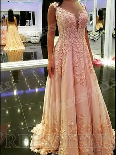 Classic A-Line V-Neck Floor Length Pink Prom/Evening Dress with Appliques
