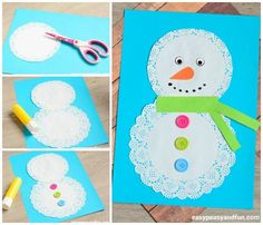 Doily Snowman Craft - Easy Peasy and Fun Preschool Christmas Crafts, Christmas Crafts For Kids To Make, Snowman Crafts, Holiday Crafts, Cute Christmas Ideas, Children's Church Crafts, Winter Art Projects, Craft Activities For Kids, Toddler Crafts