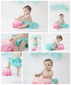 Teal and pink rosette cake smash