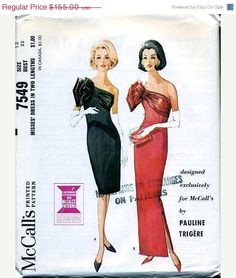 ON SALE Vintage McCalls  Pauline Trigere Cocktail by anne8865, $131.75
