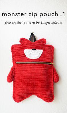Kelvin Monster Zip Pouch By ChiWei Ranck - Free Crochet Pattern - (1dogwoof)
