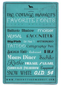 Favorite Fonts of the Month from The Cottage Market  ~~  {20 Free fonts w/ links}