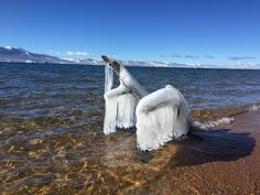 Lake Tahoe and it's ice sculptures. Nature's art at its best. Free frugal entertainment.