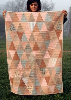 Alaska Quilt - pink and brown fabrics came from red onion skins, warm greys are from black walnut hulls