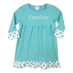 Laney Loops - Aqua Blue Polka Dot Long Sleeve Ruffled Play Dress, $24.99 (http://www.laneyloops.com/aqua-blue-and-polka-dot-long-sleeve-ruffled-play-dress/)