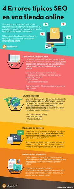 4 Errores típicos de SEO en una tienda online #ecommerce #SEO #infografia