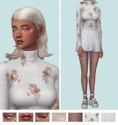 sims e-girl: Photo eyeshadow - lips - eye highlight - cheek highlight - hair - earrings - top - skirt - shoes - fishnets (base game) Sims Mods, Sims 4 Game Mods, Sims 4 Mods Clothes, Sims 4 Clothing, The Sims 2, Sims 4 Mm Cc, Sims 4 Cas, Vêtement Harris Tweed, The Sims 4 Cabelos