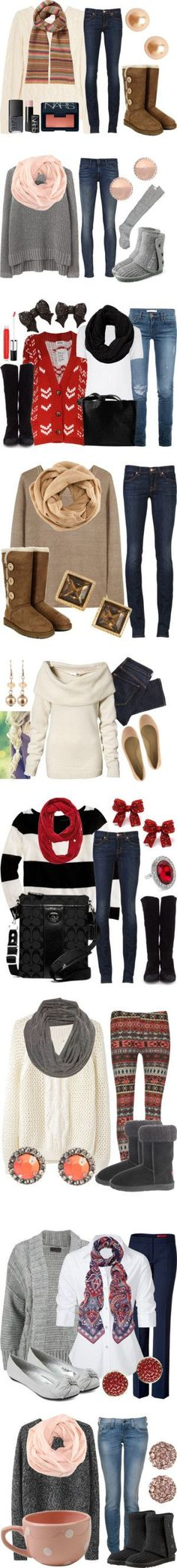 """""""Winter Wardrobe"""" -- now if I just had any of these pieces or suitable substitutes, I'd be stylin' . Mode Outfits, Casual Outfits, Fashion Outfits, Womens Fashion, Fashion Clothes, Sweater Outfits, Latest Fashion, Sweater Boots, Classy Outfits"""