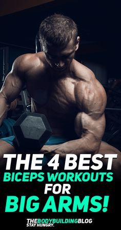 Check out the Top 4 Biceps Workouts for Bigger Arms! Big arms have always been a key bodybuilding/fitness goal that almost everybody - occasional and dedicated gym goers alike - strive for. These 4 workouts are dedicated to help you achieve bigger, strong Arm Workout Men, Gym Workouts For Men, Biceps Workout, Fun Workouts, Workout Exercises, Workout Plans, Dumbbell Exercises, Core Workouts, Training Workouts