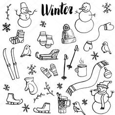 Find Winter Doodle Set Vector Isolated Hand stock images in HD and millions of other royalty-free stock photos, illustrations and vectors in the Shutterstock collection. Thousands of new, high-quality pictures added every day. Doodle Bullet Journal, Bullet Journal Ideas Pages, Bullet Journal Inspiration, Christmas Doodles, Christmas Drawing, Doodle Drawings, Doodle Art, Doodle Images, Winter Drawings