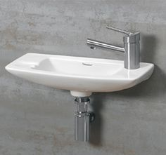 Whitehaus Jem Small Wall Mount Lavatory Sink With Faucet Drilling on Right - White