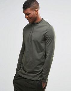 ASOS Longline Long Sleeve T-Shirt With Drawstring Turtle Neck