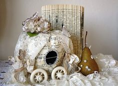 Cinderella carriages made from papier mache or plastic pumpkins and pears via Ozma of Odds.  I'm thinking this might be fun to do with eggs for Easter...?