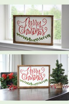 Merry Christmas wood sign is hand painted and hand crafted. It's classic Christmas colors and design will give your home Christmas cheer year after year. Looks great on a mantle, console table, countertop, or add it to your wall decor! Merry Christmas Wood Sign, Christmas Sign, Farmhouse Christmas Decor, Christmas Wall Decor, Christmas Mantle, Holiday Decor, Seasonal Decor #ad #affiliate