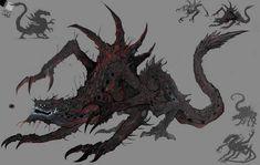 Monster Concept Art, Alien Concept Art, Creature Concept Art, Fantasy Monster, Monster Art, Creature Design, Shadow Monster, Dark Creatures, Mythical Creatures Art