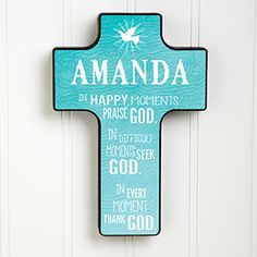 My Blessing Personalized Wall Cross - First Communion Gifts Personalised Christening Gifts, Baptism Gifts, Personalized Gifts, Amanda, First Communion Gifts, Wood Crosses, Prayer Board, Gifts For Boys, Trust God