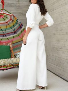 Shop Plunge Mesh Insert Wide Leg Jumpsuit right now, get great deals at pickmyboutique Trend Fashion, Fashion Outfits, Womens Fashion, Hijab Fashion, Wide Leg, Elephant Pants, Sleeve Styles, Pure Products, Legs