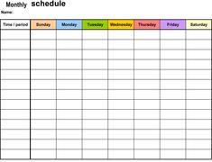 month work schedule template