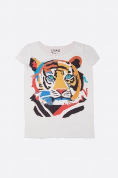 GKERO - FUNKY TIGER TEE-SHIRT | CENTRE COMMERCIAL Tiger Shirt, T Shirt, Aw 17, Boy Character, Tee Shirt Designs, Baby Winter, Closet Space, Graphic Shirts, Art Techniques