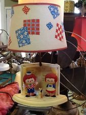 Vintage 1976 Raggedy Ann Andy & Fido Night Light Lamp Bobby Merrill Dolly Toy Co