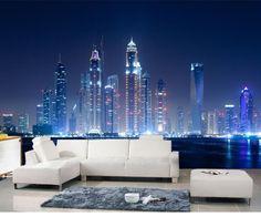 Barato 3d grande da noite paisagem papel de parede murais sofá tv fundo papel de parede, Papel de parede paisagem, Compro Qualidade Papéis de parede diretamente de fornecedores da China:                   Modelo: QY0006                              Nome: 3D grande City Night paisagem papel de parede