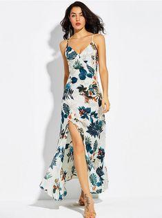 51f493c81a3 Robe longue bretelles à fentes imprimés feuilles nistie.com -  mode   fashion
