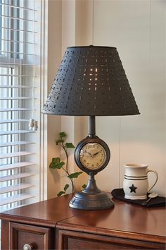 Colonial floor lamp espresso textured finish with punched tin clock lamp 215 x 65 dia aloadofball Images