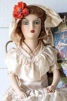 Vintage composition bed/boudoir doll