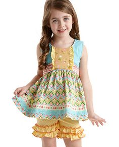 Matilda Jane Clothing Ribbon Dance Talent Show Shasta top and Cheerful Shorties