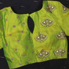 New Latest Blouse Designs - The handmade craft Blouse Back Neck Designs, Designer Blouse Patterns, Fancy Blouse Designs, Saree Blouse Designs, Designer Saree Blouses, Traditional Blouse Designs, Indian Style, Mirror Work Blouse Design, Cashmere Pullover
